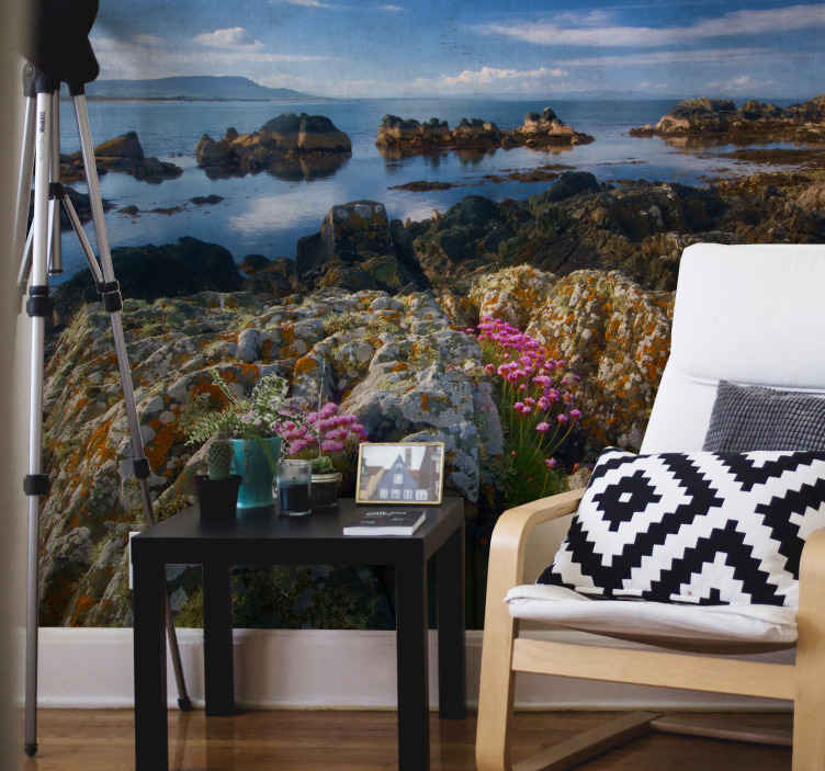 TenStickers. Amazing view Ireland wall mural wallpaper. Amazing view of Ireland wall mural. On the deign you can see the pretty landscape of mountain, water body and the sky in it peaceful and calm view.