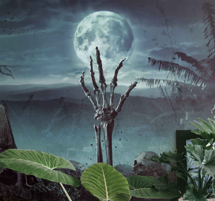 TenStickers. Full moon a grave yard Halloween wall mural wallpaper. Scary decorative Halloween wall mural design featuring a deserted landscape with grave and skeletal hand thrusting from the grave.