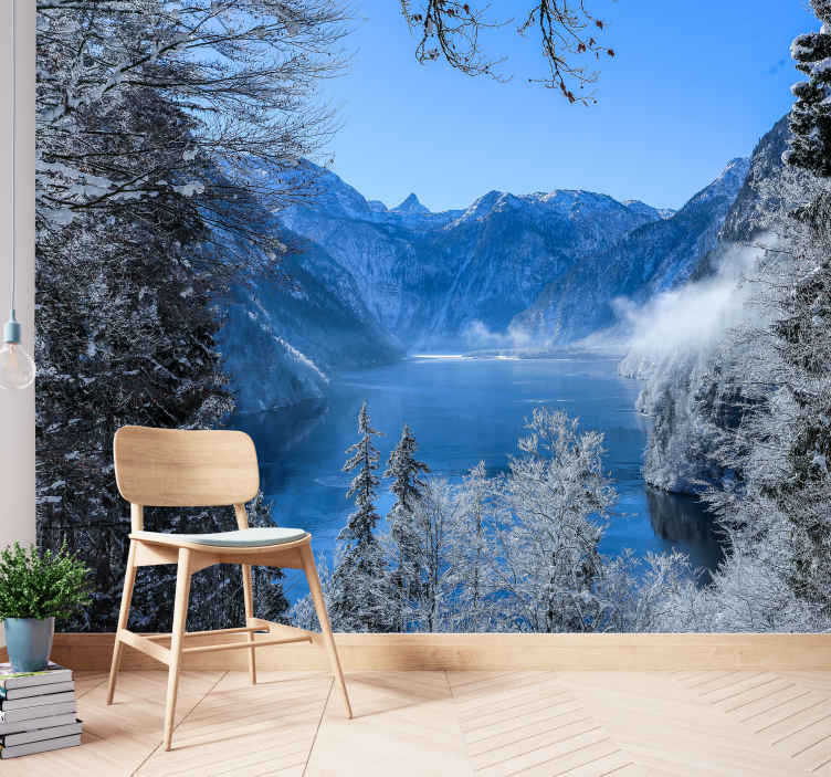 TenStickers. Frosted lake and forest wall mural landscape wall mural. Magnificent view scenery wall mural of frosted lake and forest. A design that would thrill your guest and friends when they visit you.