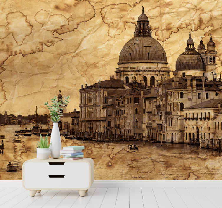 TenStickers. Italian canal narrow road wall mural mural wallpaper. Decorative Scenery  view wall mural of Italy road canal featuring old monumental building structures and canal. Easy to apply and of high quality.