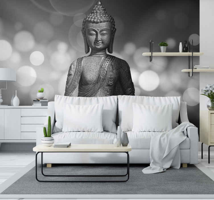 TenStickers. Silver buddha Wall Mural. 'Peace comes from within. Do not seek it without.' Create a blissful atmosphere within your home with this buddha wall mural.
