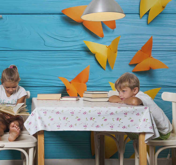 TenStickers. Colored ornamental butterflies pattern wall mural. An ideal wall mural for children's bedroom  just perfect to transform it with an original and realistic blue wood texture effect with butterfies.