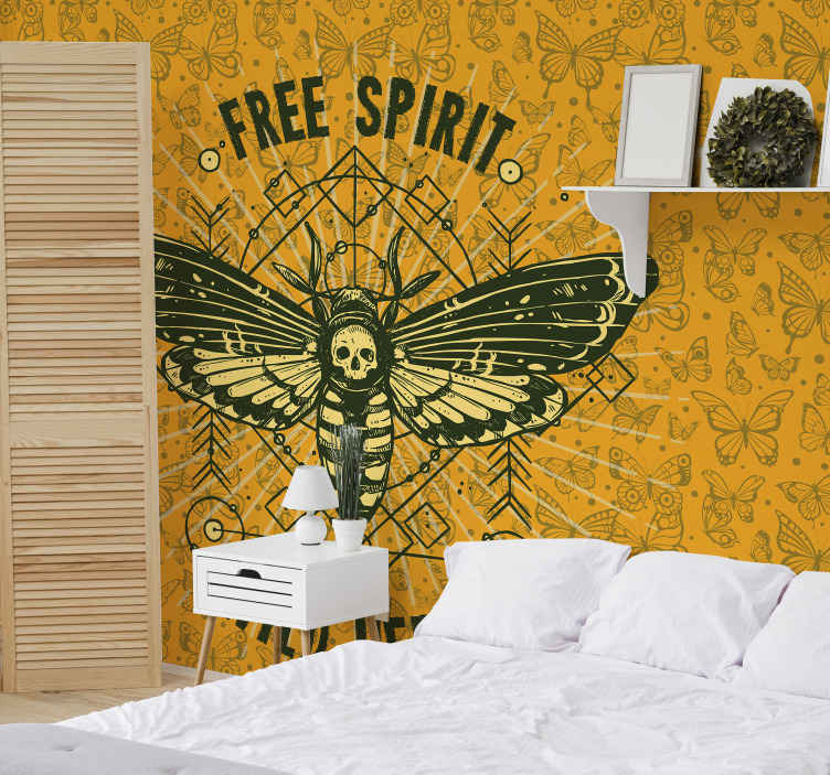 TenStickers. Trendy butterflies pattern animal murals. Change your home space with this amazing soothing butterfly yellow wall mural design. A design that would install a peaceful atmosphere on any space.