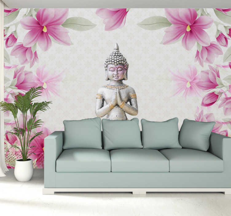 TenStickers. Flower Buddha Wall Mural. Bring a little feeling Zen into your home with this awesome meditating Buddha mural wallpaper. Free worldwide delivery available!