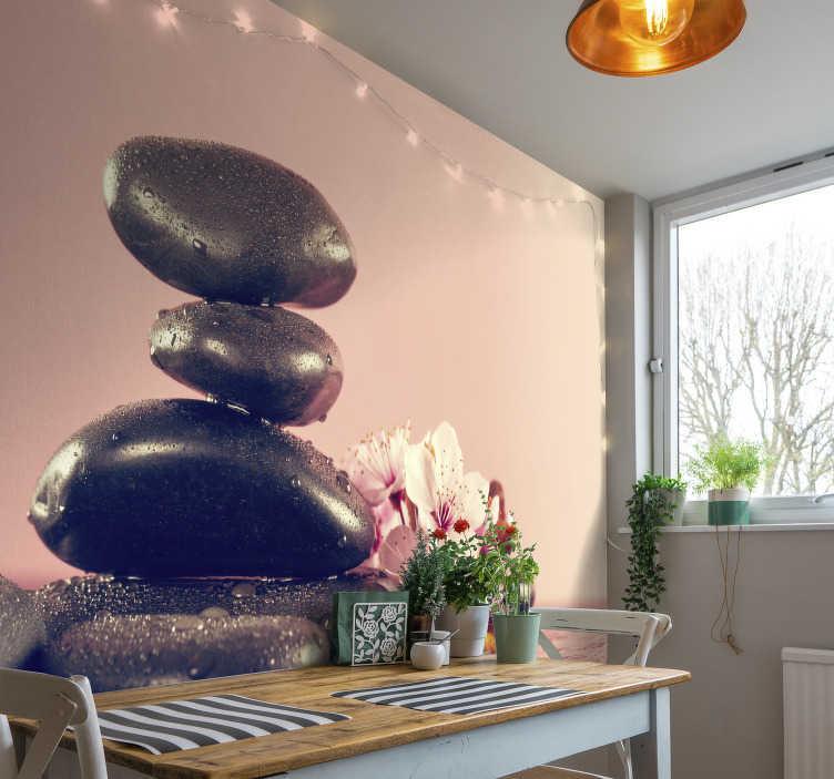 TenStickers. Balansiranje kamenja zen zidni mural. Ahhhhhhh i opustite se. Ovaj zid zidni mural je toliko umirujući za gledanje. Zaboravite na stres proteklog dana i opustite se gledajući ovaj dizajn