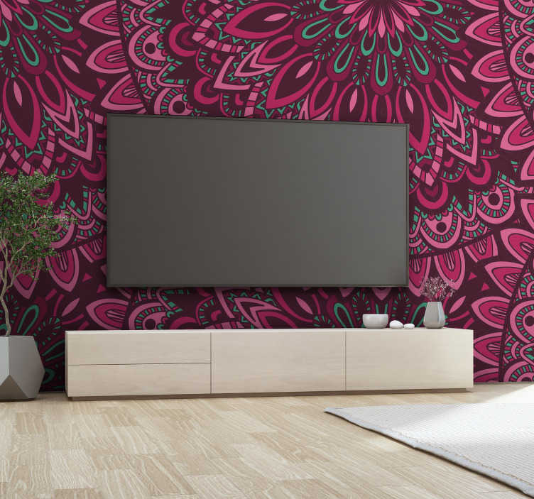 TenStickers. Murală de mandala florală. Transformă orice cameră din casa ta într-un loc complet zen cu acest frumos mural de mandala floral. Livrare la nivel mondial disponibil!