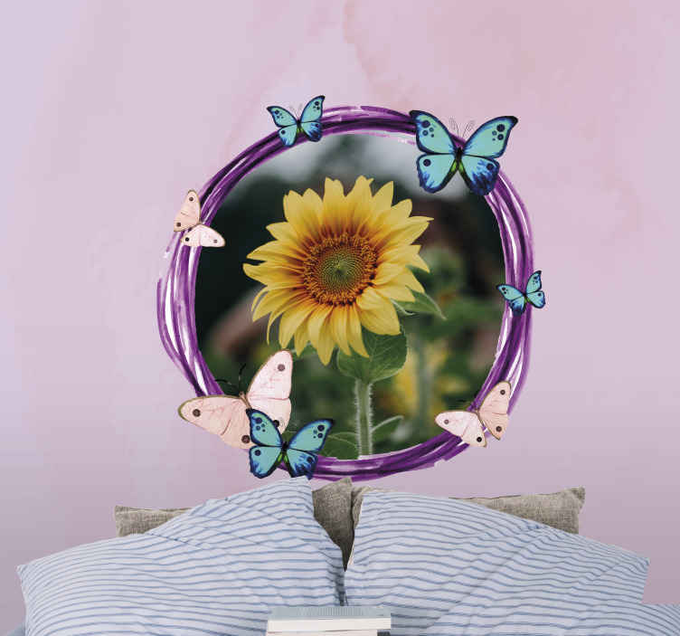 TenStickers. colorful butterflies with photo custom murals. Our custom photo wall mural with a beautiful pink background and colorful butterflies is sure to create a new look in your room! Order yours now!
