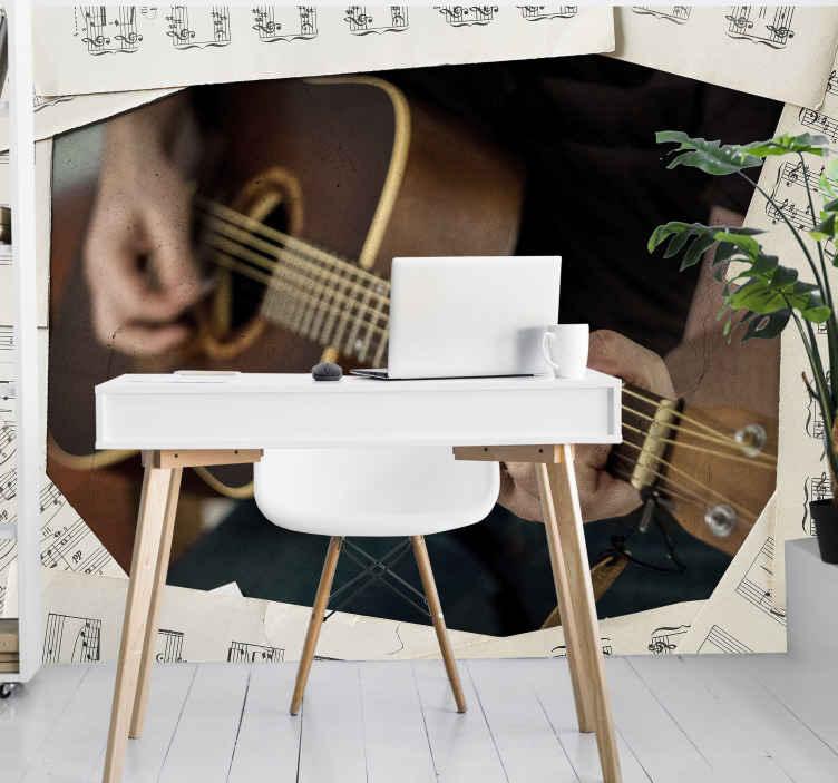 TenStickers. Strast prema glazbi prilagođeni murali. Prilagođena slika sa zidnom freskom pozadine glazbene teme za ukrašavanje sobe ili zajedničkog prostora. Vrlo se lako nanosi, trajan je i dugotrajan.