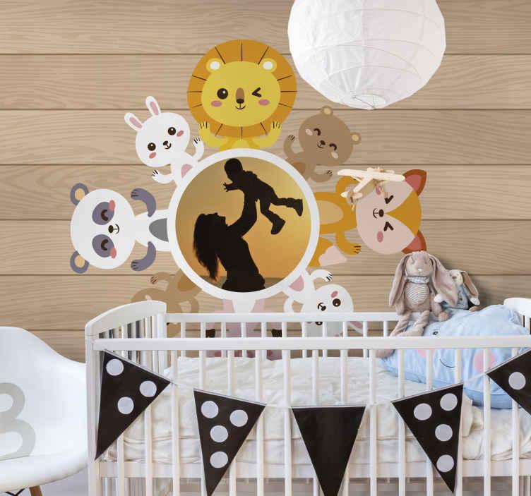 Tenstickers. Zvierací rám s fototapetami pre deti. Zvierací rám s fototapetami na dekoráciu detskej izby pre deti. Môžete nahrať ľubovoľnú fotografiu želania na prispôsobenie tapety.