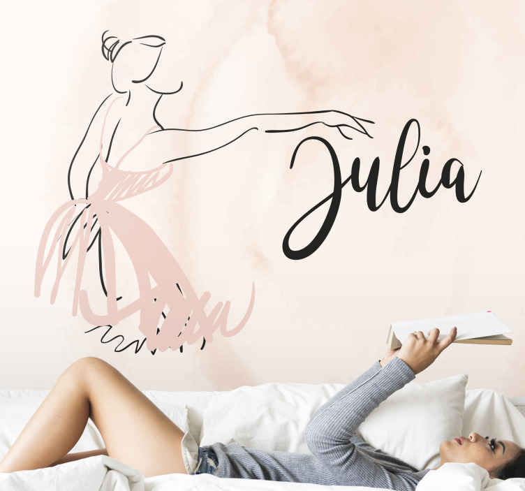 TenStickers. Personalizirani ljubitelj plesa prilagođeni fotomuralni. Personalizirano ime zidni zid crtež ilustracija žene koja pruža ruku dok pleše. Lako se nanosi i ljepi.