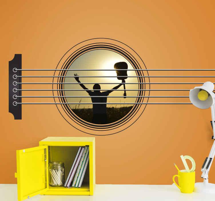 TenVinilo. Fotomural personalizable de guitarra con foto. Decora tu cuarto con tu gusto por la música con este fotomural personalizable de guitarra con foto. Adjunta la que desees ¡Envío gratuito!