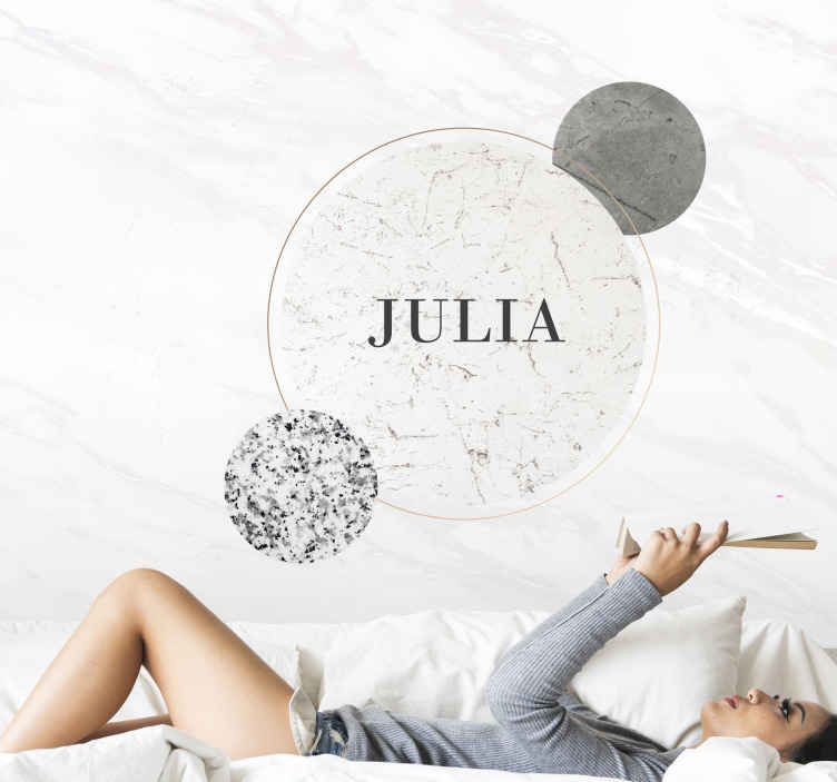 TenStickers. Marble with personalized text  murals. Customize your own text on our original marble texture wall mural. Contemporary marble style wall mural with patch sample of smaller marble textures.