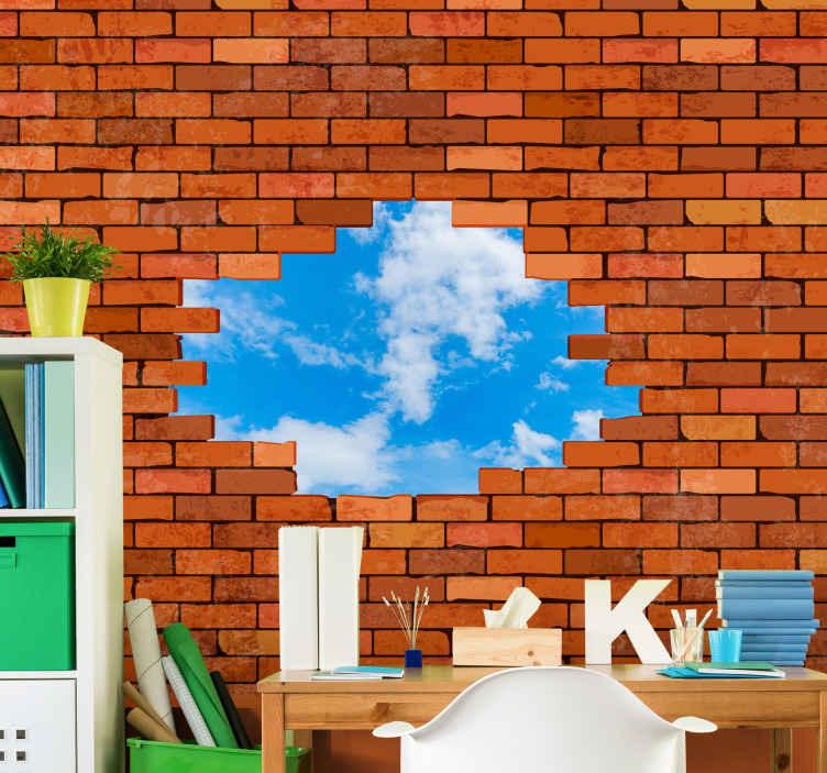 TenStickers. Opečni okvir z osebnimi poslikavami po meri za fotografije. Lahko prilagodite svojo fotografijo na tej stenski poslikavi iz rdeče zlomljene opeke. Spremenite svoj prostor v izkušnjo z našo dih jemajočo 3d stensko poslikavo.