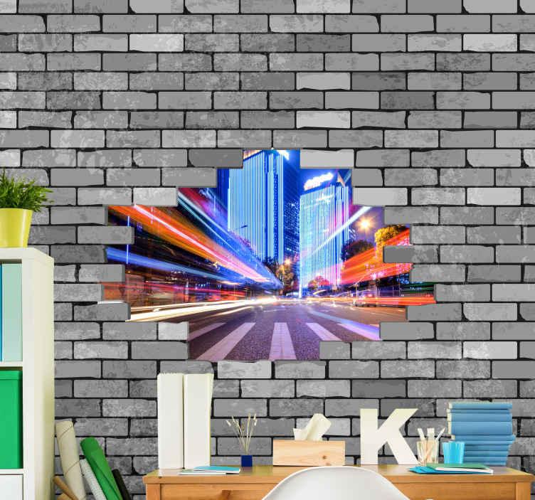 TenStickers. Rozbité cihly s vlastní fototapety. Rozbité cihly s fototapetou na panoráma města, které vyzdobí váš domov nebo kancelář dech beroucím pohledem. Je originální, odolný a snadno použitelný.
