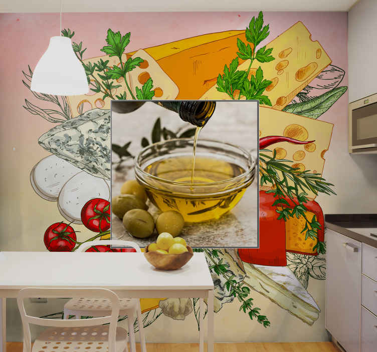TenStickers. passion fot cooking frame with photo custom murals. Realistic food cuisine wall mural for kitchen. Beautify a kitchen space or dining  with this design illustrating food preparation in a kitchen.