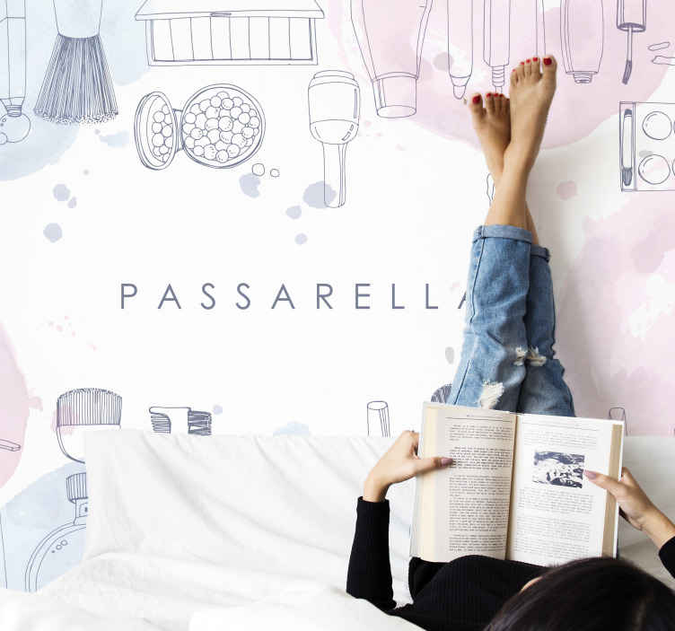 TenStickers. beauty background personalised custom murals. Decorative girl' bedroom wall mural. The sketchy drawing photomural design containing different beauty elements, is customizable with text.