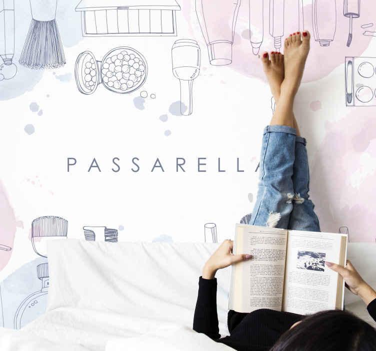 """""""Tenstickers"""". Grožio fonas suasmenintos individualizuotos freskos. Dekoratyvinis mergaitės miegamojo sieninis paveikslas. Eskizinį piešimo fotomūrinį dizainą, kuriame yra įvairių grožio elementų, galima pritaikyti su tekstu."""