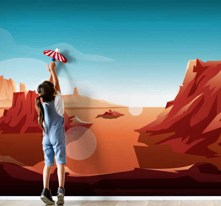 TenStickers. Pouštní slunce děti fototapety. Ozdobte si svůj domov luxusním vzhledem pomocí naší vysoce kvalitní nástěnné malby tištěné pouštní krajiny. Je originální, odolný a snadno použitelný.