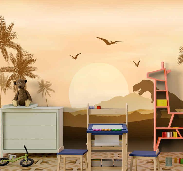 TenStickers. Fototapeta t-rex w zachodzie słońca. Dekoracyjna fototapeta do pokoju dziecięcego przedstawiająca t-rex o zachodzie słońca. Niesamowity projekt naturalnego krajobrazu z przedstawionymi górami, dinozaurami, zachodem słońca itp.