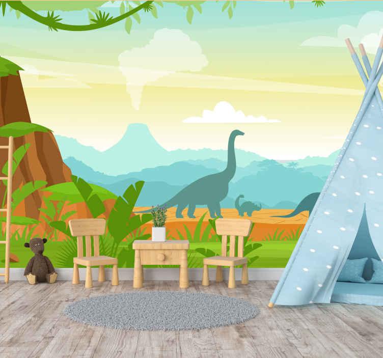TenStickers. Fotomurais de Parede Silhuetas de dinossauros. Belo fotomural vinílico de parede de paisagem de montanha com animais dinossauros. é original, duradouro e super fácil de aplicar. Também fácil de manter e removível.