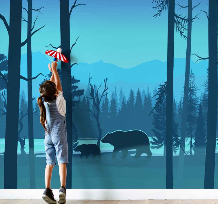 TenStickers. 아이들이 산과 곰 벽화. 곰과 산 풍경의 사랑스러운 벽화. 당신의 집을 장식하는 진정 자연 경관 사진 벽화 디자인.