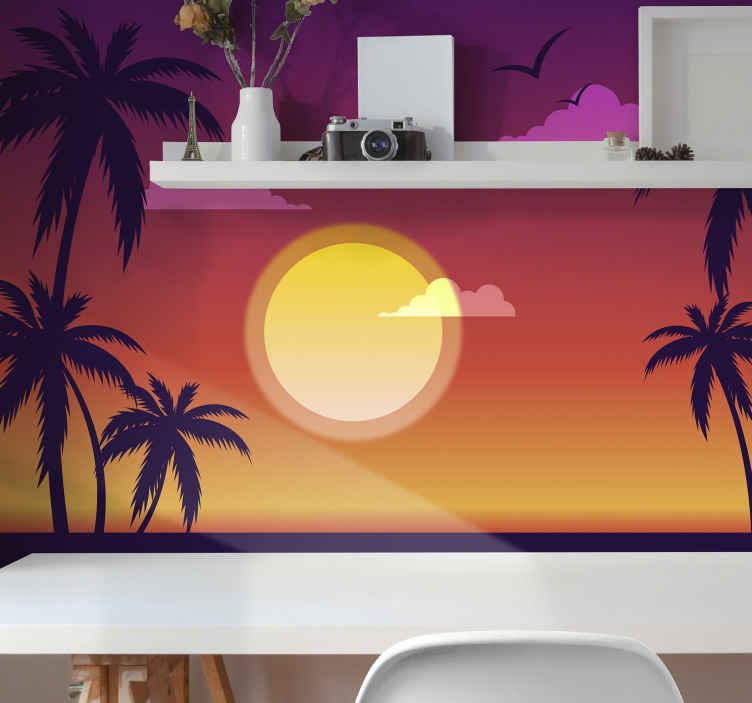 TenVinilo. Fotomural mar caribeño puesto sol de los 70. Un maravilloso fotomural vintage de palmeras y pájaros para decorar cualquier espacio de tu casa que desees ¡Envío gratuito!