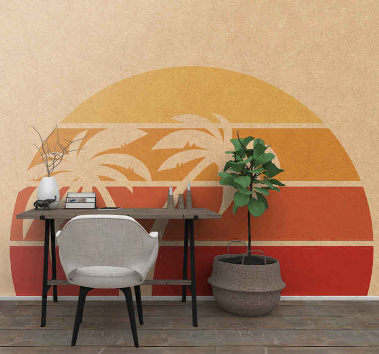 TenStickers. Fotomural retro gün batımı manzarası. Evinizin duvarlarını süslemek ve ona mükemmel bir görünüm kazandırmak için renkli bir gün batımı ve palmiye ağaçları fotomural. Aralarından seçim yapabileceğiniz çeşitli boyutlar.
