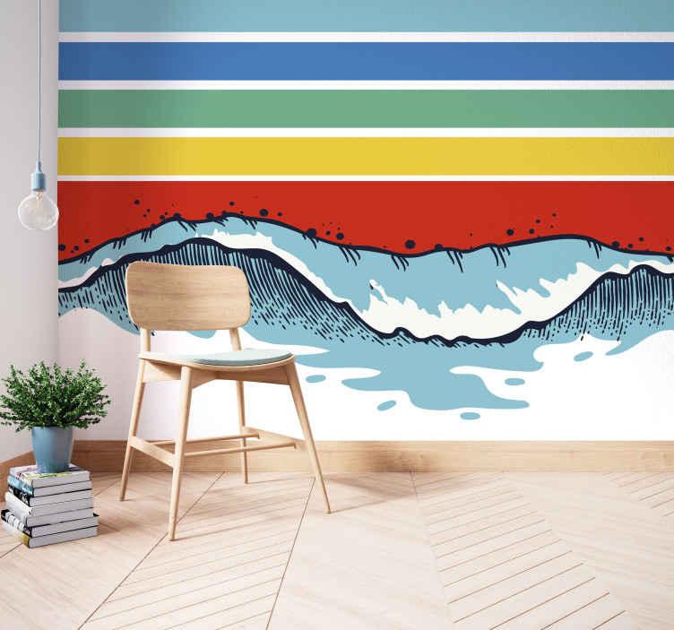 Tenstickers. Fotofototapet retro fargestriper og bølger. En regnbue farger striper og bølger fotofototapeter for å dekorere husveggene og gi det et perfekt utseende. En rekke størrelser å velge mellom.