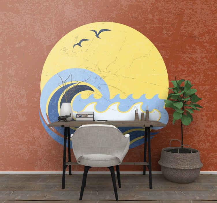 TenStickers. 태양, 해변과 파도 빈티지 벽화. 방에 태양 해변과 파도 사진 벽화. 이 상징적 인 벽지로 거실, 침실, 홀, 사무실 및 기타 방을 꾸밀 수 있습니다.