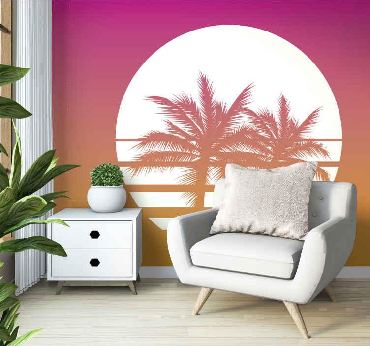 TenStickers. Fotomurais paisagistícos Sunset vintage landscape. Papel de parede de paisagem vintage super e agradável do sol. Escolha um tamanho adequado para este papel de parede com estampa rosa e adicione ao seu carrinho de compras.