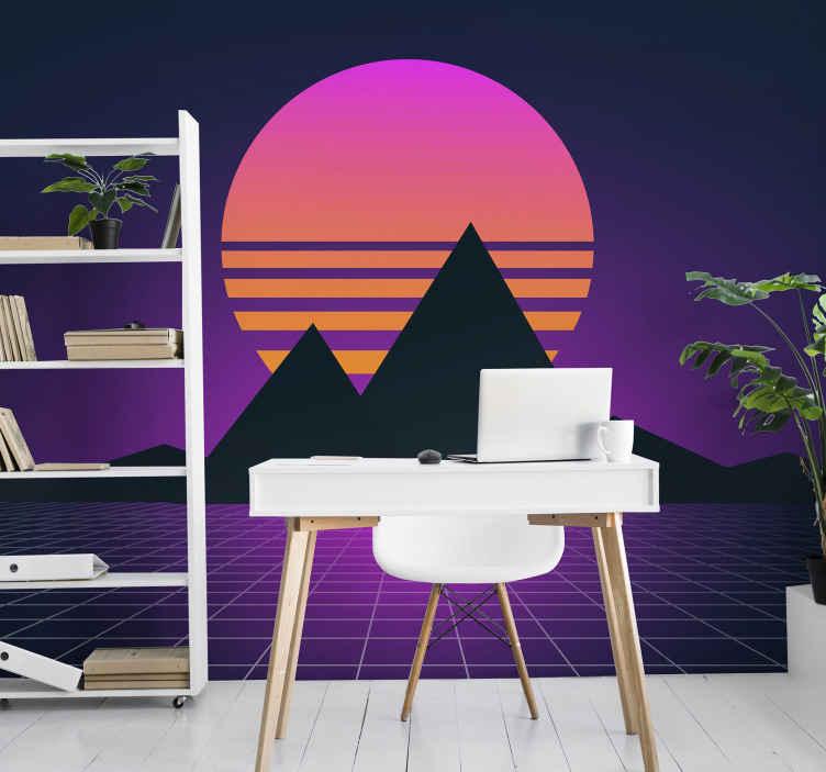TenStickers. Ročník a retro sluneční horská nástěnná malba. Kolekce krásných a retro slunečních tapet. Design je super. Ozdobte jakoukoli speciální místnost ve vašem domě tímto designem.