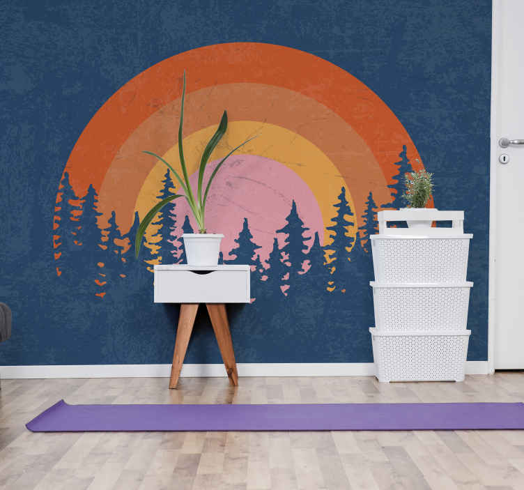 TenStickers. Photo murale arbres Soleil vintage. Fantastique et super beau papier peint vintage soleil à vendre. Avec nos produits vous avez la possibilité de présenter votre chambre.
