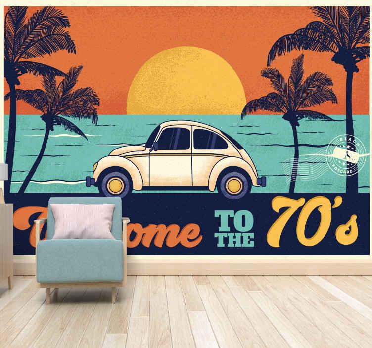 TenStickers. Dobrodošli na starinski stenski poslikavi iz 70-ih. Sanjska fotomuralna dobrodošlica v 70-ih za prodajo. Kupi to fantastično fotomuralno. čudovitega dizajna, primeren je za dnevno sobo.