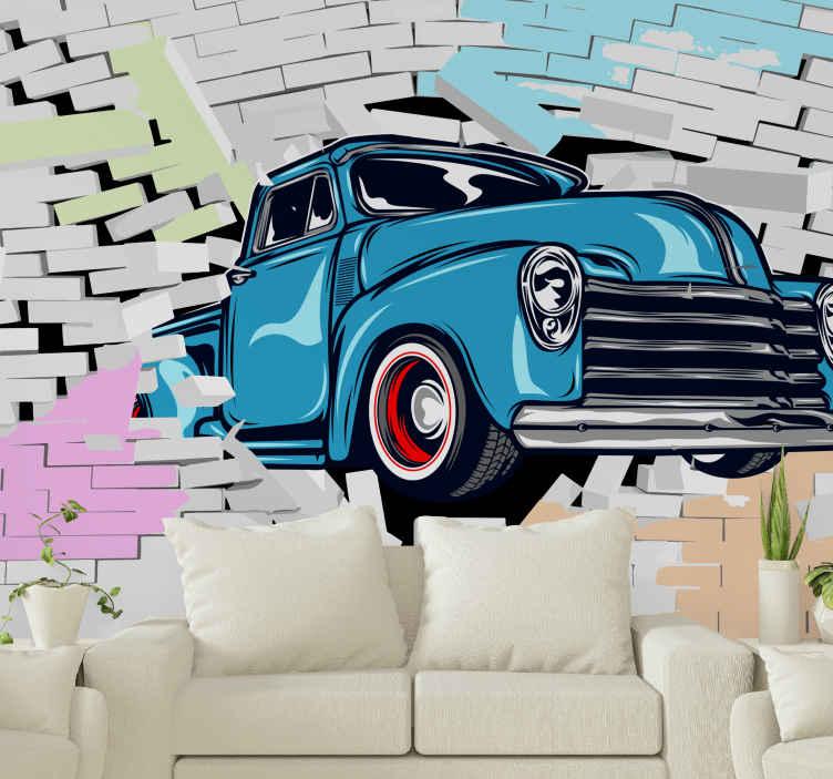 TenStickers. Auto Fototapete Schickes oldtimer durch bunte ziegel. Probieren Sie dieses farbenfrohe Tapete für oldtimer noch heute aus. Ihre wände werden unglaublich aussehen! Einfach anzuwenden und zu entfernen, ohne schaden zu verursachen.