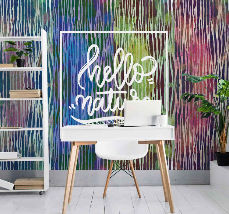 TenStickers. Fotomurali frasi Trama zebra astratta. Incredibile murale con stampa animalier multicolore con testo! Iscriviti oggi per ricevere uno sconto del 10% sul tuo primo ordine.