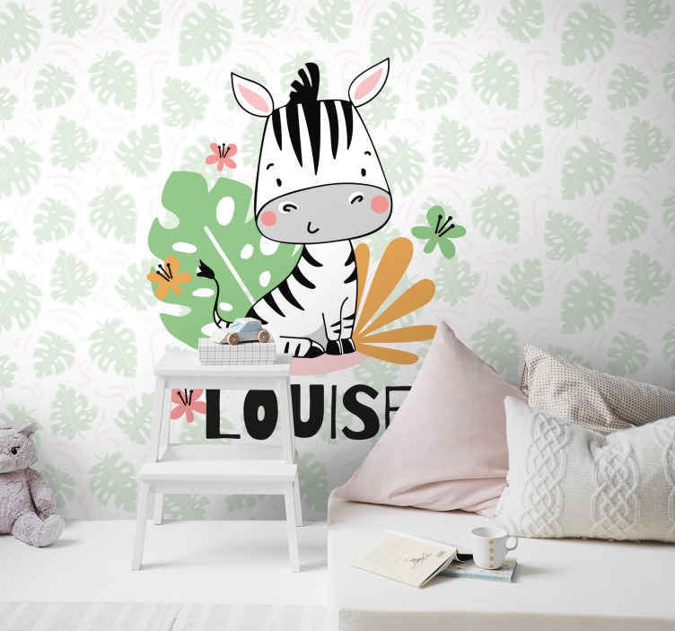 TenStickers. beautiful zebra for kids custom murals. A wonderful animal themed kids wall mural you can add a personal touch to! Easy to apply and remove without damaging your wall.