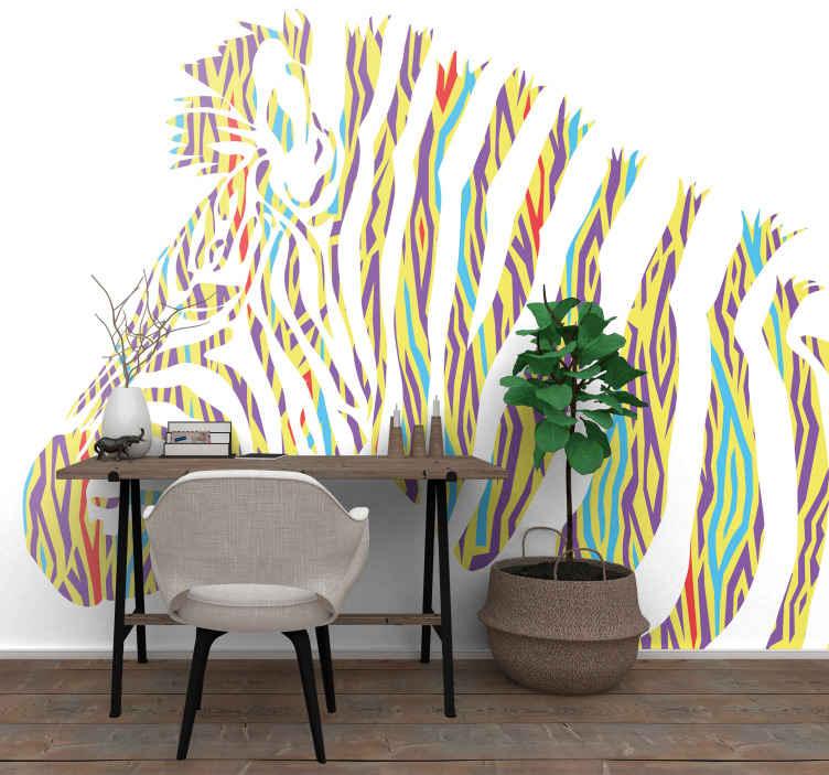 TenStickers. Fotobehang kleurrijke zebra dierenprint. Geef uw muren de decoratie van de eeuw met dit stoere vintage zebra fotobehang. Heb het nu binnen enkele dagen voor de deur!
