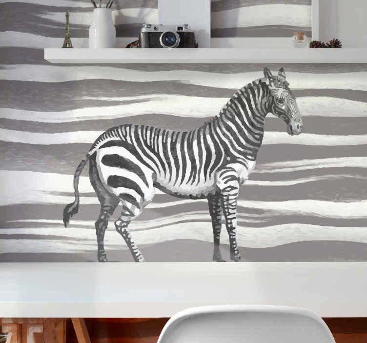 TenStickers. Vintažna zebra ilustracija zidnih tapeta. Nevjerojatan zidni prikaz sa životinjama na kojem se nalazi zebra s pozadinom zebra ispisa. Prijavite se danas za 10% popusta na prvu narudžbu kod nas!