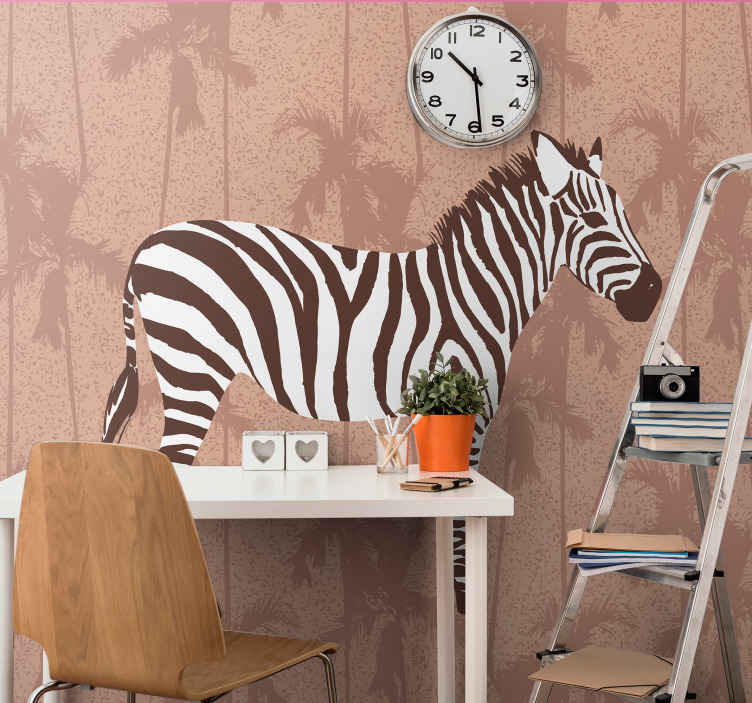 TENSTICKERS. シマウマと手のひらの茶色の壁画の壁紙. 信じられないほど新しい外観のためにあなたの家のどんな壁にも適用する驚くべき野生生物の壁の壁画。損傷を与えることなく、簡単に取り付けおよび取り外しできます。