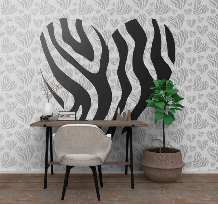 TenStickers. 얼룩말 동물 인쇄 심장 사랑 벽 벽화. 이 zebra love wallmural로 오늘 벽을 놀라운 장식으로 장식하십시오. 오늘 주문하면 단 며칠 만에 벽에 붙일 수 있습니다!