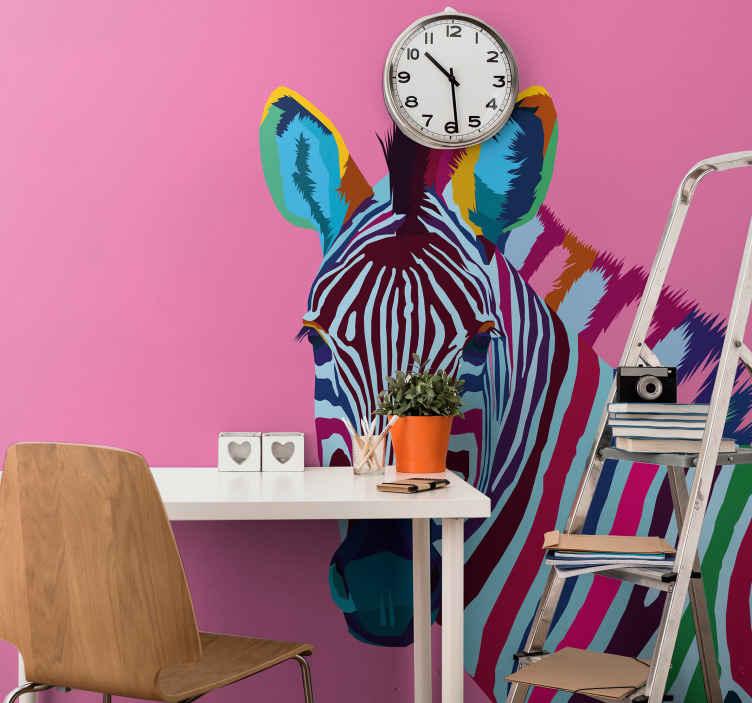 Tenstickers. Sebra pop art dyr veggmalerier. Bestill din egen sebra pop veggmaleri dekorasjon i dag. Med en fargerik sebra og en rosa bakgrunn, vil dette designet se fantastisk ut på veggene dine!