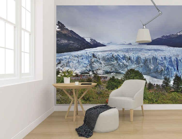 TenStickers. τοπίο των τοιχογραφιών της Παταγονίας. Αυτή η τοιχογραφία τοίχου με φωτογραφία του τοπίου σάς παρουσιάζει τη θέα στο τοπίο ενός πάγου στην Παταγονία. διαθέσιμο σε διάφορα μεγέθη, εύκολο στην εφαρμογή και ανθεκτικό.