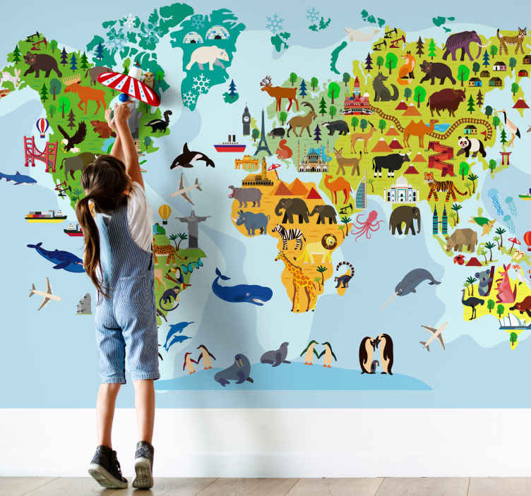 TENSTICKERS. 記念碑や動物の世界地図の壁の壁画と子供の世界地図. この教育的な世界地図の壁壁画を使用して、今日の子供や生徒を美しい方法で教育してください。今日は目的を持って飾ろう!