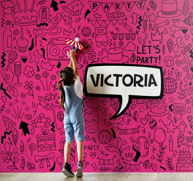 TenStickers. Papier peint graphique Doodle personnalisé rose. Photo de papier peint d'adolescent avec l'illustration de griffonnages sur un fond fuchsia et nom personnalisable en noir, parfait pour votre chambre.