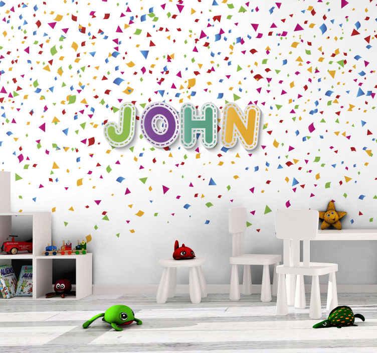 TenStickers. Murales camera da letto Coriandoli personalizzati. Carta da parati fotografica colorata con illustrazione di coriandoli colorati e nome personalizzabile scritto anche in diversi colori.