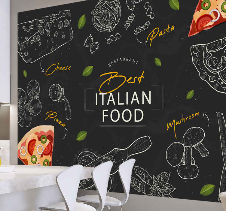 """Tenstickers. Talianske jedlo ikony nástenná tapeta. Kuchynská fototapeta s textom """"najlepšie talianske jedlo"""" obklopená obrázkami tradičných talianskych jedál, ako sú pizza, syr a cestoviny."""