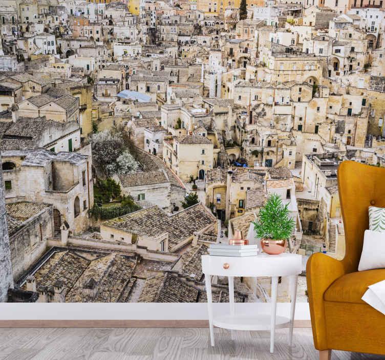 TenStickers. Photo murale Fond de sassi di matera. Cette murale de salon serait parfaite dans votre salon ou même dans votre chambre à coucher. Ajoutez-le à votre panier maintenant !