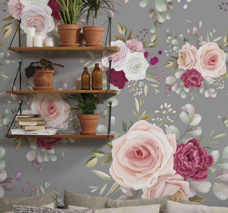 TenStickers. ροζ λουλούδια παγωνιού σε γκρι ταπετσαρία τοίχου. εδώ έχουμε μια εξαιρετική λύση: το εκπληκτικό μας λευκό χαρτί τοιχογραφίας! απεικονίζει μερικά ροζ λουλούδια παγώνι σε γκρι φόντο.