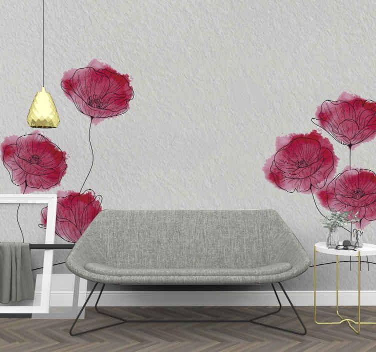 TenVinilo. Fotomural de flores amapolas dibujadas. Aquí tenemos una opción especial para la decoración de tu hogar, ¡nuestro increíble y colorido fotomural de flores con amapolas es tuyo!