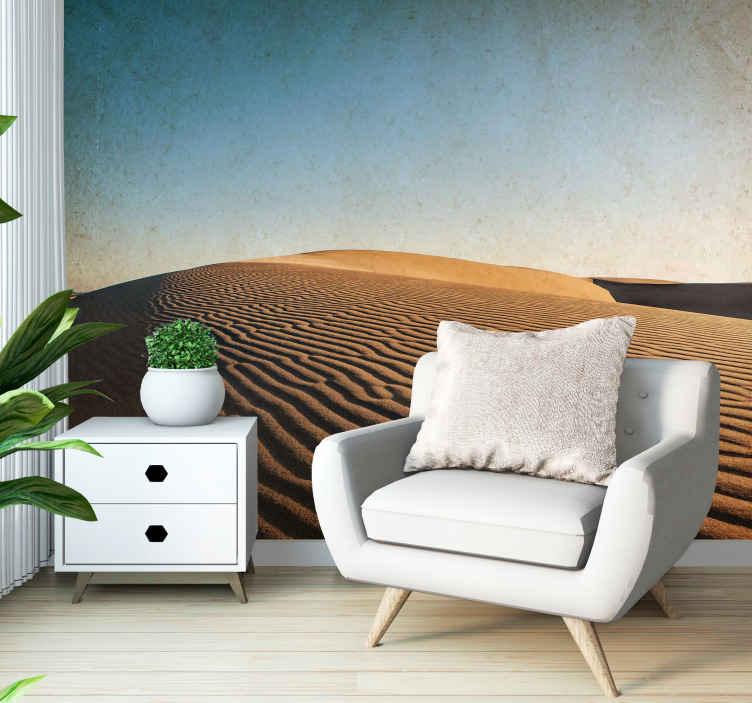 TenStickers. Nástěnná malba východní pouště sahara. Pouštní fototapeta s úžasným obrazem písečných dun v saharské poušti pod modrou a jasnou oblohou. Snadné použití.